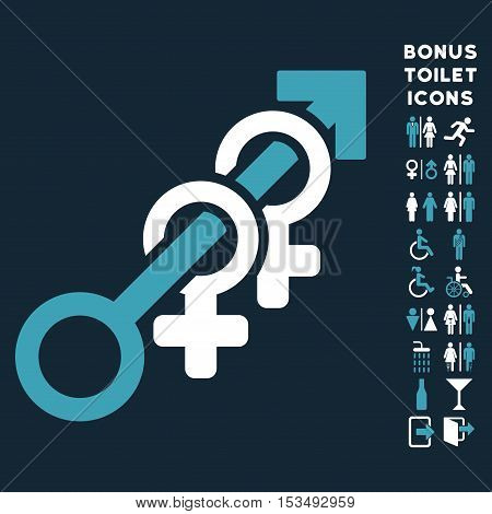 Harem icon and bonus male and female toilet symbols. Vector illustration style is flat iconic bicolor symbols, blue and white colors, dark blue background.