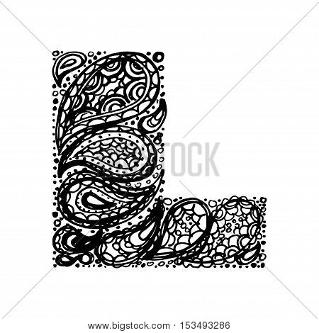 Letter L Decorative Alphabet With A Paisley Zen Doodle Tattoo Ornaments Filling Display Font