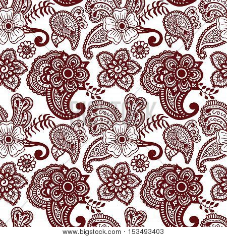 Paisley mehndi seamless violet pattern. Vector illustration