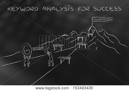 Keywords To Reach Success, Men With Huge Key Climbing Path