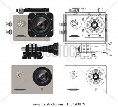 Action camera in waterproof box. Equipment for filming extreme sports. Action camera set. Realistic vector illustration.