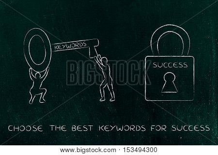 Keywords To Unlock Success, Men With Key And Lock
