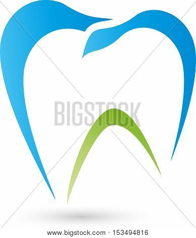 Tooth in blue, dentistry and dentist logo