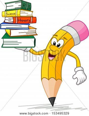 vector illustration of Cute pencil cartoon with book