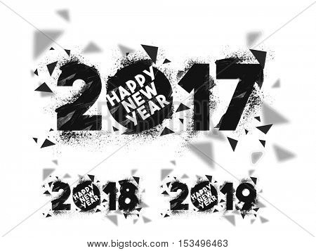 Set of abstract text design 2017, 2018 and 2019 for Happy New Year celebration.