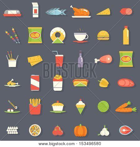 Food Icons Symbols Set Retro Flat Vector Illustration