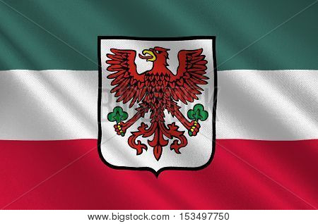 Flag of Gorzow Wielkopolski city in Lubusz Voivodeship in western Poland. 3d illustration