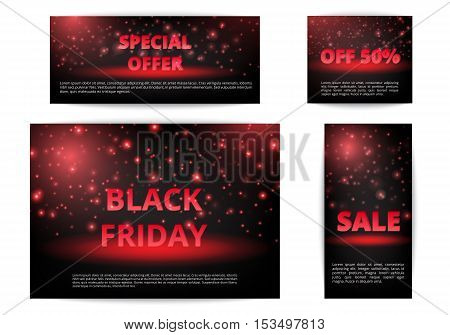 Set of banners Christmas offers. Black Friday discounts. Winter sale. Sell online.