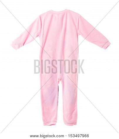 Pink fleece pajamas. Back side. Isolated on a white background.