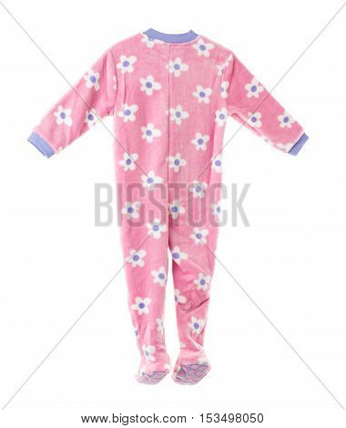 Pink fleece pajamas with floral pattern. Back side. Isolated on a white background.