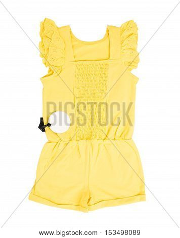 Yellow frilled coton overall. Isolated on a white background.