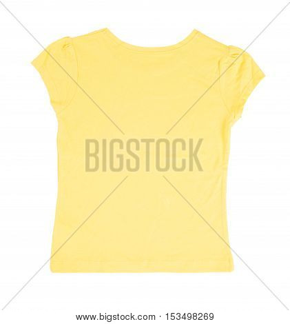 Yellow cotton t-shirt. Back side. Isolated on a white background.
