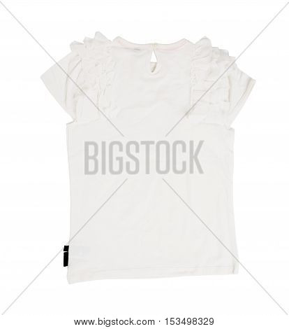 White cotton frilled t-shirt. Back side. Isolated on a white background.