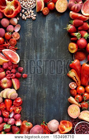 Book cover design with red hued fresh fruit and vegetables border frame layout in red colour spectrum
