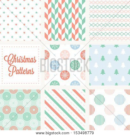 Christmas seamless pattern in vintage style, herringbone, stars, snow flake on circle, christmas tree, diagonal stripes, stripes of circle