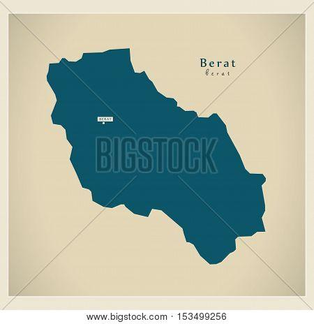 Modern Map - Berat AL Albania vector