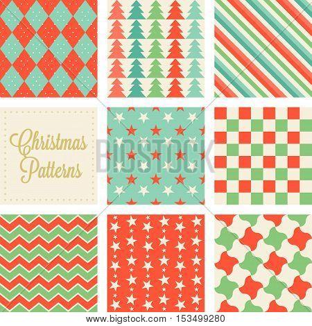 Christmas seamless pattern in vintage style, argyle, sharkskin, zigzag, checks, pinwheel, pine trees, stripe, star