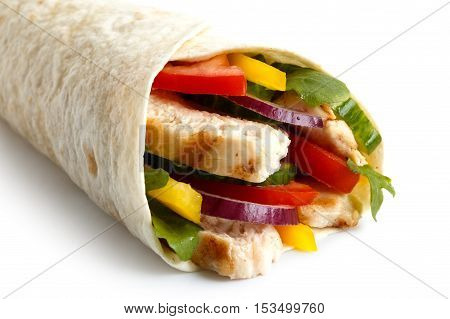 Detail Of Grilled Chicken And Salad Tortilla Wrap On White Background. No Sauce.