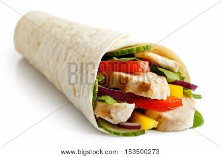 Grilled Chicken And Salad Tortilla Wrap Isolated On White. No Sauce.