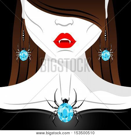 Vampire girl with red lips, fangs and diamond spider jewelry set. Jewelry set presentation. Halloween vampire.