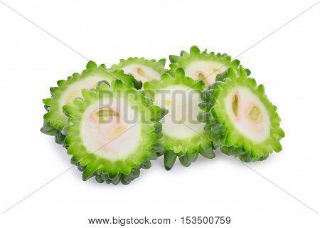 slice bitter melon isolated on white background
