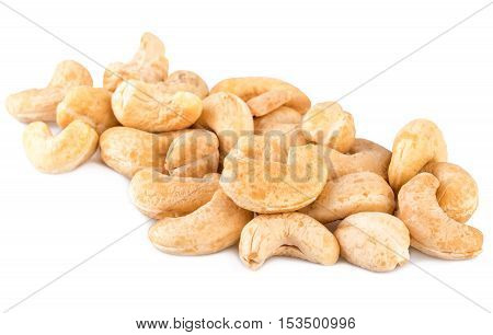 Cashew nuts heap handful on white background