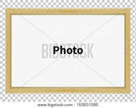 Vector illustration of a standing wooden blank clean frame for a family photo. Isolated large frame for a portrait, for a picture.