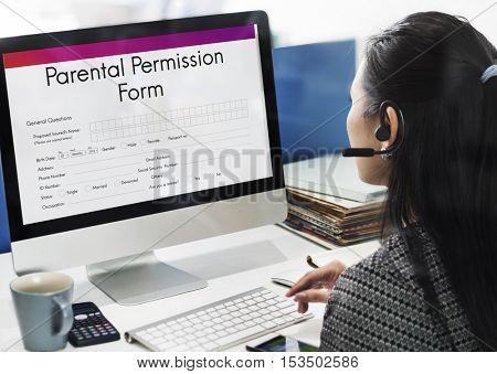 Parental Permission Form Consent Endorsement Concept poster