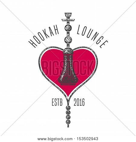 Hookah vector logo icon symbol emblem sign. Isolated decorative graphic design element for traditional hookah lounge bar. Turkish eastern style background illustration