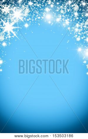 Christmas Background With Luminous Garland With Stars, Snowflakes And Place For Text. Blue Sparkly H