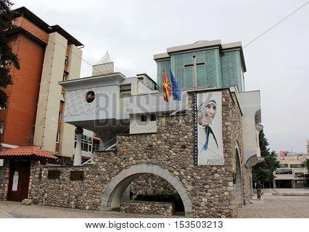 SKOPJE MACEDONIA - OCTOBER 182016:: Memorial House of Saint Mother Teresa in Skopje Museum of Mother Teresa Humanitarian Worker and Nobel Prize Winner in Skopje Macedonia.
