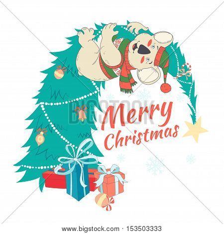 Funny Merry Christmas Card With Koala Wearing Cute Sweater And Hanging On Decorated  Christmas Tree.