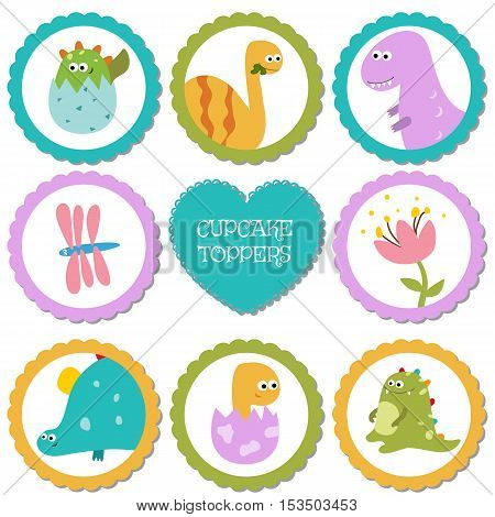 Cupcake toppers for Birthday. Collection of cartoon dinosaurs.