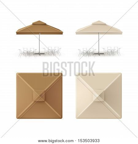 Vector Set of Brown Beige Blank Patio Outdoor Market Beach Cafe Bar Pub Restaurant Square Umbrella Parasol  for Branding Top Side Front View Mock up Close up Isolated on White Background.