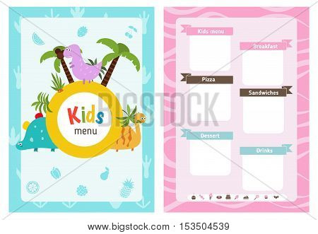 Kids menu card with cute cartoon dinosaurs. Cute colorful kids meal restaurant menu vector template.
