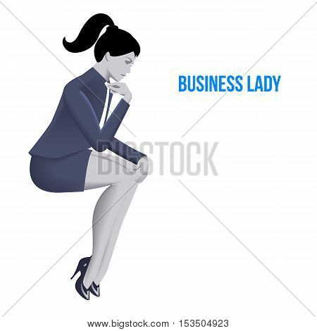 Business lady sitting thinking template. Sitting pensive business lady in business suit isolated on white background. Vector illustration. Use as template background or part of any design.
