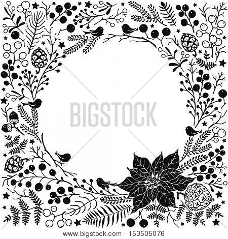 Holiday frame of Christmas doodles design elements. Vector illustration of birds, branches, trees, leaves, flower Poinsettia and berries on white background.