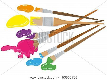 Vector set of brushes in different styles. Realism flat. For graphic and web design.