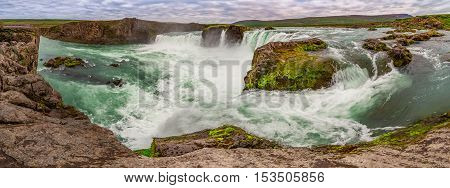 Panorama of Godafoss waterfall in Iceland in summer