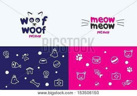 Vector logo, emblem, label design elements for pet shop, zoo shop, pets care and goods for animals. Woof woof, meow meow, cat mustache, and dog muzzle, pet store signboard concept, bowl, bone, fish.