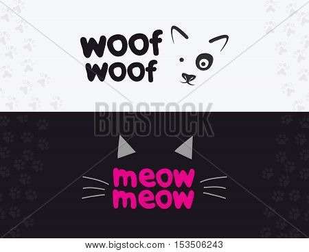Vector logo, emblem, label design elements for pet shop, zoo shop, pets care and goods for animals. Woof woof, meow meow, cat mustache, and dog muzzle, pet store signboard concept.