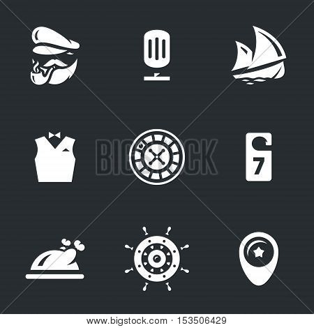 Captain, microphone, ship, servant, roulette casino, room, food, wheel, pointer.