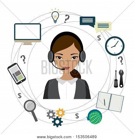 Customer service design Cartoon phone operator and icons. stock vector illustration