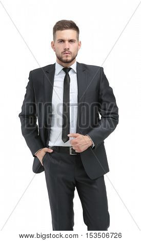 Handsome businessman standing  isolated on white background
