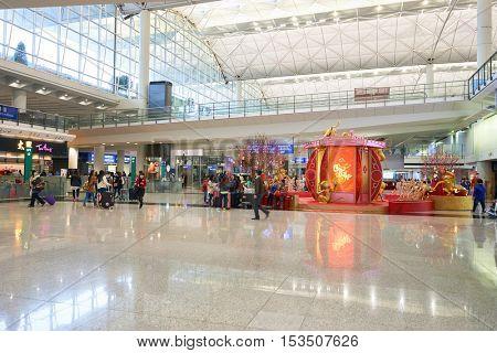 HONG KONG - 29 JANUARY, 2016: inside of Hong Kong International Airport. Hong Kong International Airport is the main airport in Hong Kong.