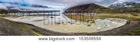 Panorama Of Vatnajokull Glacier And Lake, Iceland