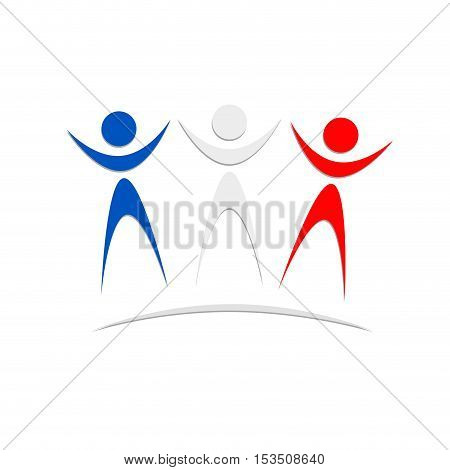 Vector sign english and french Solidarity, abstract shape, isolated illustration