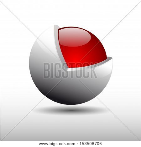 Vector sign metamorphosis protected sphere, abstract shape, isolated illustration