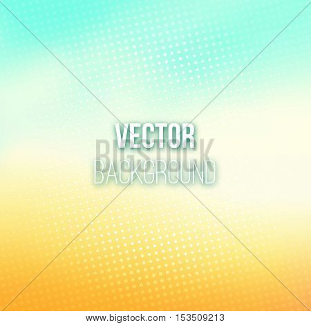 Colorful blurred background with halftone effect overlay. Dotted pattern on shiny blue-orange abstract gradient backdrop. Vector illustration