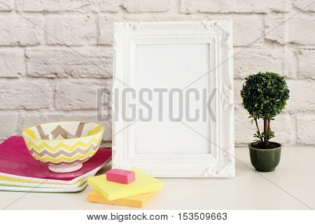 Frame Mock Up. White Frame Mockup. Styled Stock Photography. Notebooks, Bonsai Plant. Template Produ